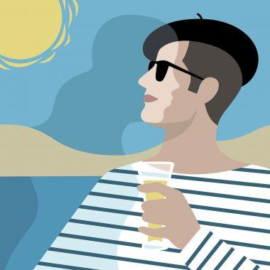 Illustration Frankreich. Sommer und Liebe