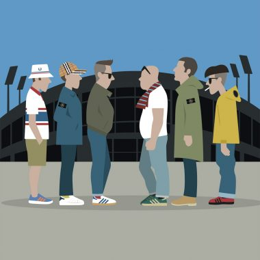 Illustration football subculture. Casual dating